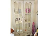 Shabby chic solid wood display cabinet, glass panels (one missing)