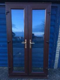UPVC BROWN FRENCH DOORS IMMACULATE CONDITION