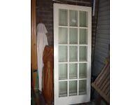 Internal glass double white doors