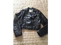 Girls Black Soft Leather Look Jacket