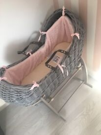 Claire de lune pink and grey Moses basket