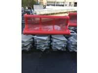 3 red allyminium outdoor benches. £200 each or 3 for £500.