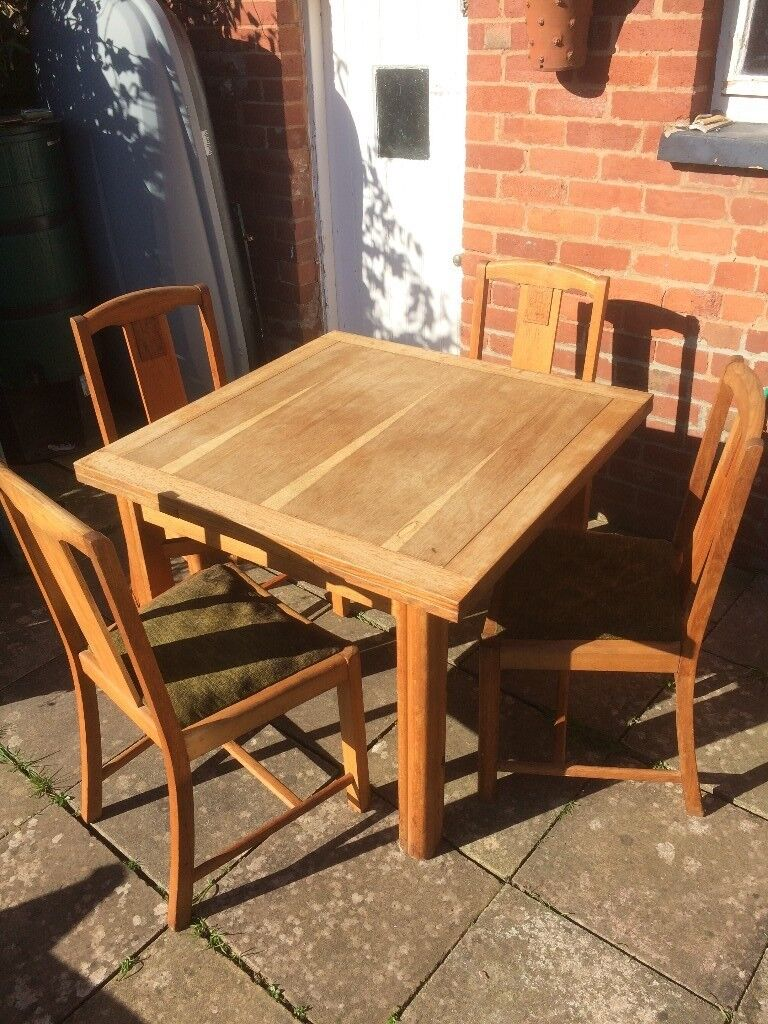 Vintage 1940s Utility Extending Dining Table And 4 Chairs