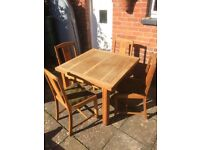 Vintage 1940's utility extending dining table and 4 chairs