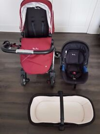 Silver Cross Wayfarer Pushchair with Carry Cot - VINTAGE RED with car seat