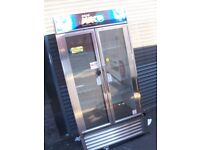 PEPSI NEW STYLE DRINKS CHILLER REFRIGERATION CHROME DOUBLE DOORS & SHOP FREEZER WORKING