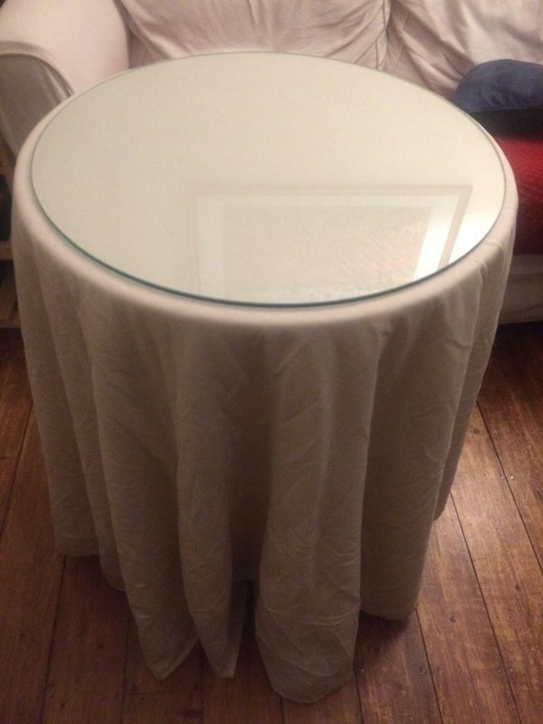 Tremendous Chipboard Side Table With Custom Cut Glass Top Custom Fleece Cloth And Custom Cotton Tablecloth In Fulham London Gumtree Download Free Architecture Designs Sospemadebymaigaardcom