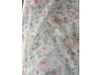 "Pair Pretty Pink/Grey Floral Curtains 65""wide x 53""long"