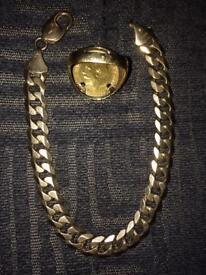 9ct curb bracelet & half sovereign ring