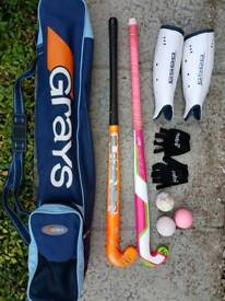 Kookaburra Hockey stick x2, bag, shin pads, gloves, balls