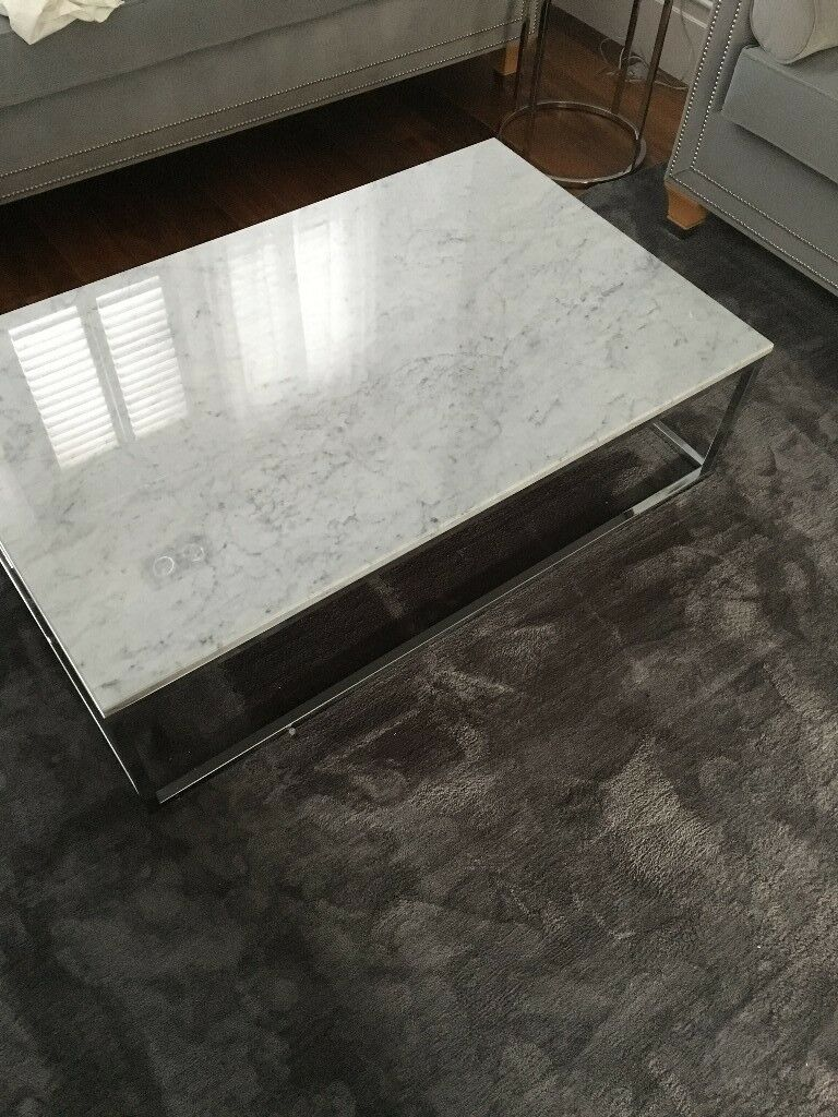 Wayfair Manitoba Coffee Table White Marble Chrome Base In Wandsworth London Gumtree