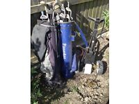Pinseeker and other golf clubs plus trolley