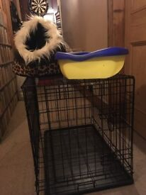 Medium dog crate, cat litter tray and cat basket