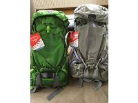 Osprey Rucksacks. Atmos 50AG & Aura 50AG. All new with tags,