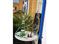 Beautiful green and silver Shisha with all accessories in bespoke bag