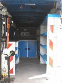 Sprinter Shelving, lockers, workbench and hoist