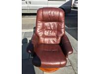 Very nice brown leather swivel & recline chair