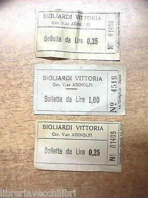 Lotto di 3 bollette BIGLIARDI VITTORIA Cavaliere Vincenzo Adinolfi NAPOLI gioco