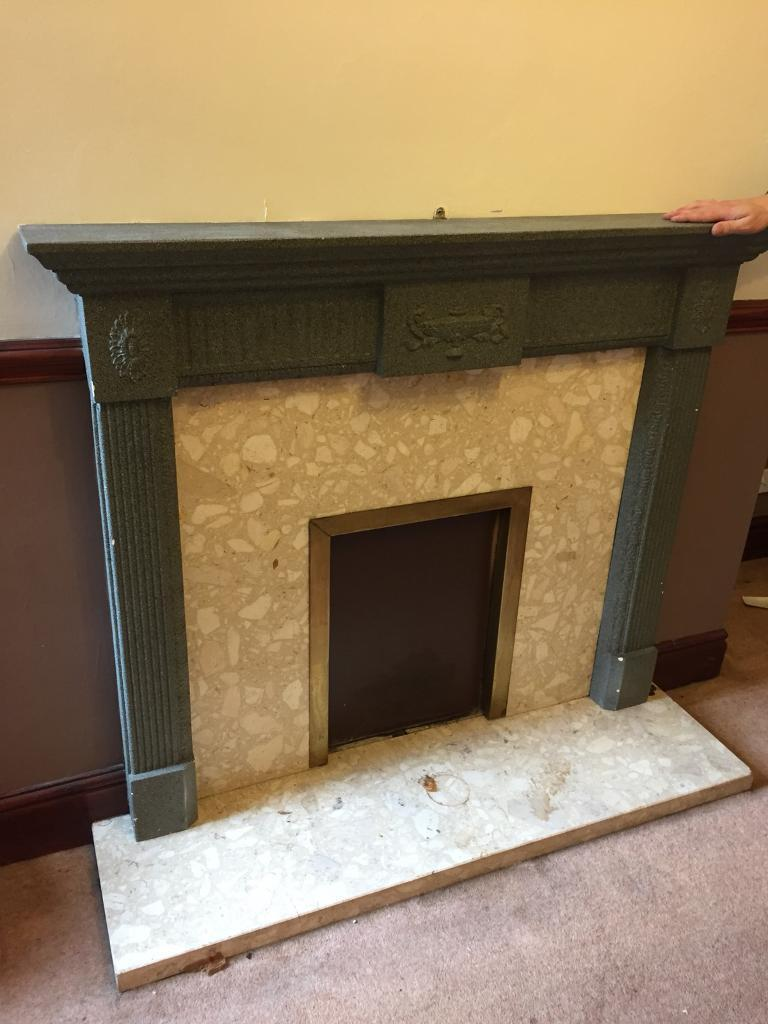 Resin fireplace and marble surround and hearth