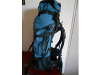 Low Alpine Frontier ND55 +15 quality Backpack. With large side pockets and extendable lid.