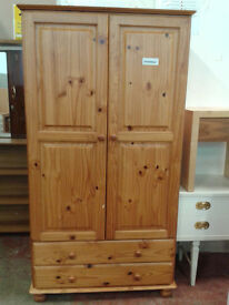 Pine wardrobe with double drawers