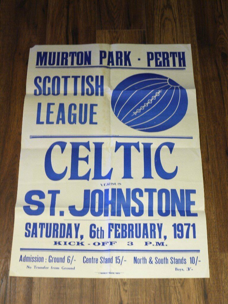 RARE ST JOHNSTONE V CELTIC 1971 MUIRTON PARK POSTER.