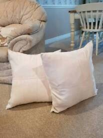 x2 large cream cushion covers