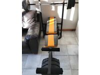 Weight lifting multi bench including weights, dumbells and bar