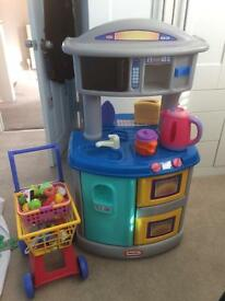 Little tykes plastic kitchen with trolley & basket