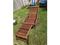 Solid cherry wood sun lounger