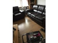 GENUINE LEATHER 3 SEATER SOFA AND MATCHING ARMCHAIR