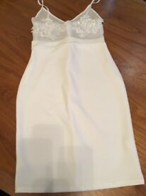 Cream bodycon dress with lace top
