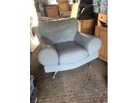 Leather Armchair light grey