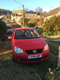 Red VW Polo 2008 great reliable car, £30 tax per year 6 months MOT 2 lady owners