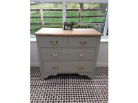 Large wooden painted chest of drawers