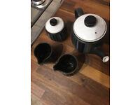 Denby Black & Grey Stripe teapot set