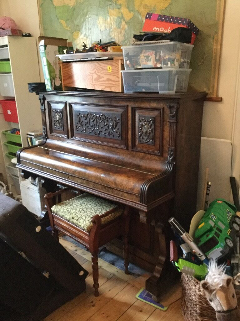 Free Antique Upright Piano And Stool