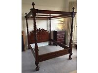 Mahogany Queen Anne Four Poster Bed