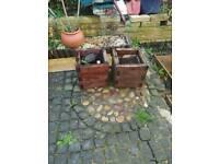 2 x wooden garden planters