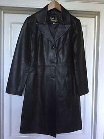 Full length brown leather coat