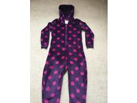 Onesie soft and fleecy purple with pink dots