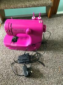 Mini rose pink 10 stitches sewing machine begin learning easy use kids or adult