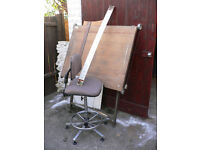 A0 Drawing Table & Matching Chair & Accessories