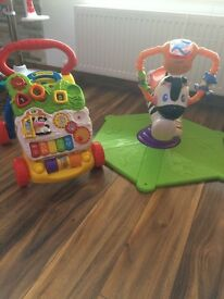 Baby VTECH walker and Fisher Price bouncy zebra