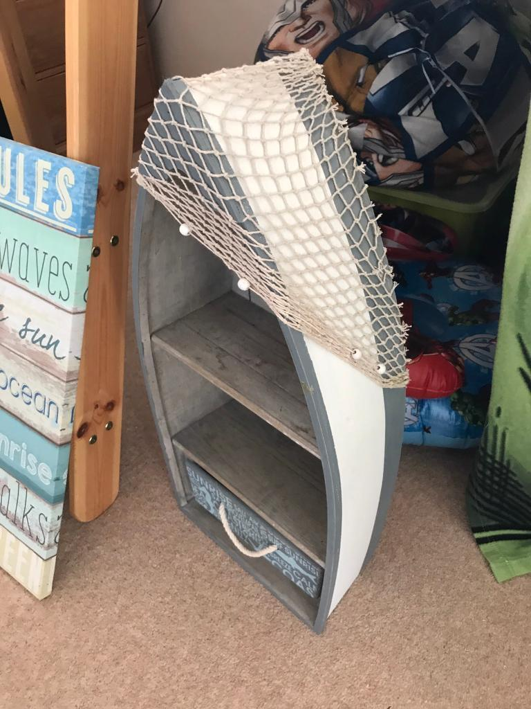 Boat shelf and draw storage unitin Norwich, NorfolkGumtree - Boat shape, one draw and shelves storage unit! Very good condition. £15