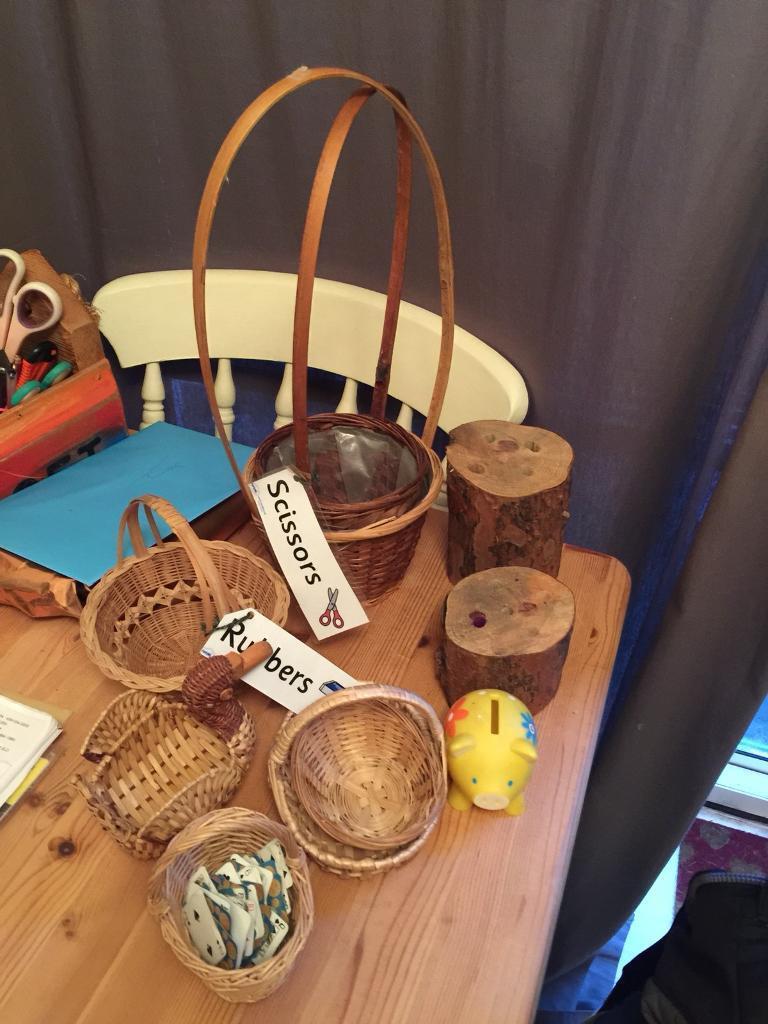 Selection of baskets storage pre school child minder