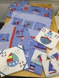 Nautical double duvet cover, two pillowcases, matching curtains plus canvas'