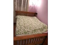 Double Bed with Wooden Frame - Excellent Condition (Frame + Mattress)