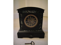 ENGLISH SLATE AND BRASS MANTEL CLOCK WITH MARBLE INSERTS