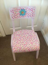 Pretty upcycled child's wooden chair. Lavender paintwork with decoupage design on seat and